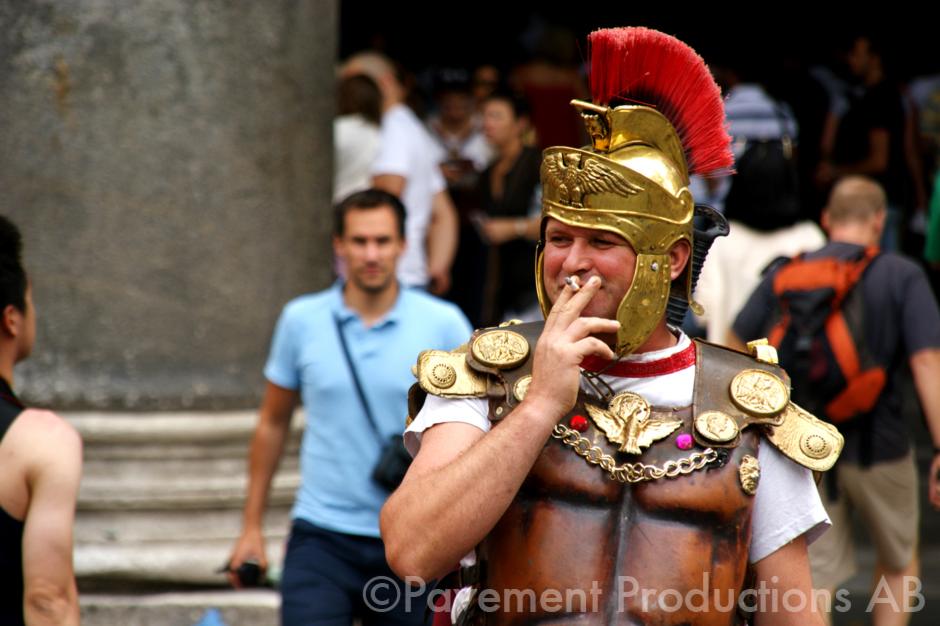 Roman soldier smoking